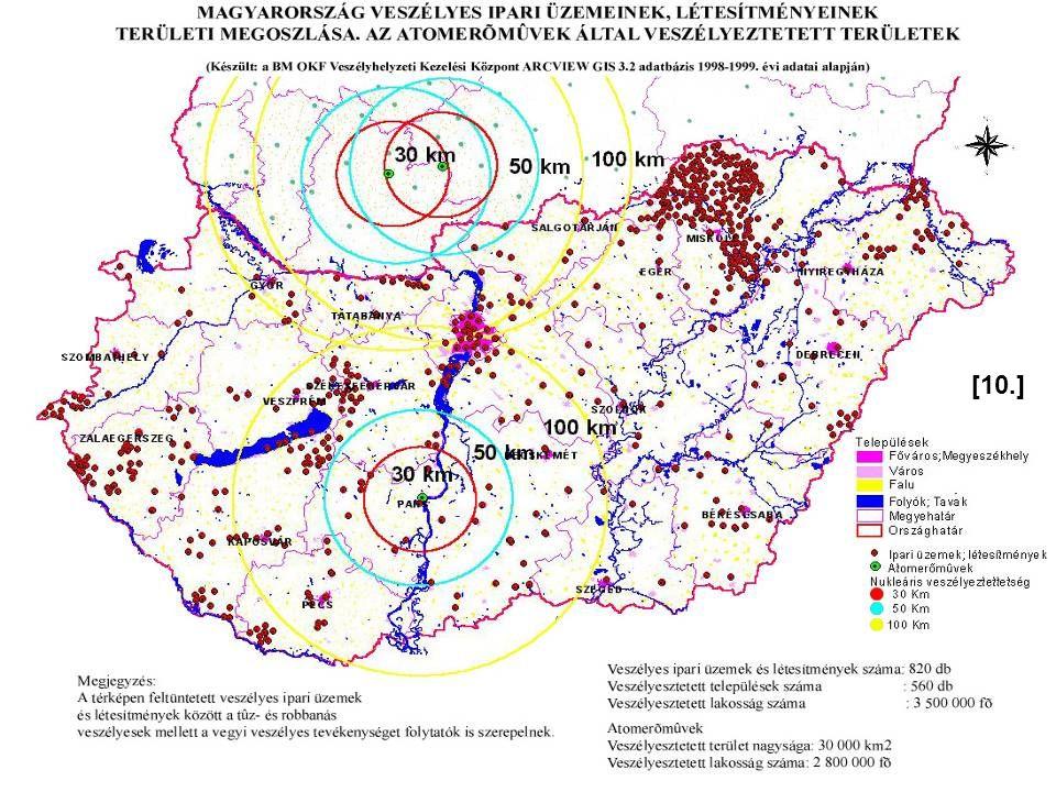 [10.] Forrás: 2009. évi adatok. Foglalja össze a térkép alapján hazánk veszélyes ipari üzemeinek megoszlását.